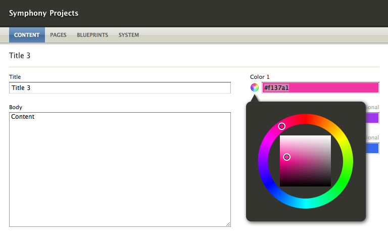 Field: Color Chooser: Visually choose a hex/rgb/hsl color value